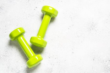 Dumbbells on white background top view. 스톡 콘텐츠