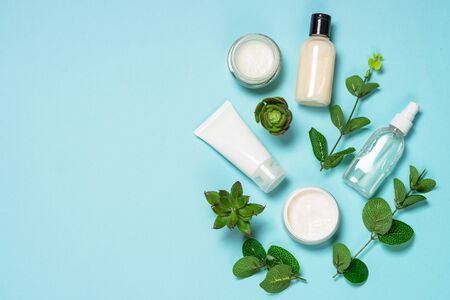 Skin care product, natural cosmetic flat lay. Reklamní fotografie