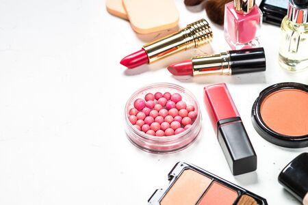Makeup professional cosmetics on white background. Reklamní fotografie