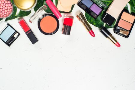 Makeup professional cosmetics on white background.