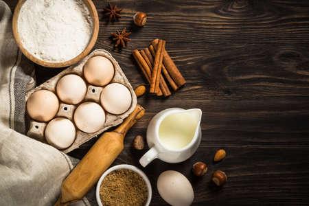 Baking ingredients on kitchen table.