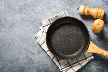 Frying pan or skillet with stone nonstick coating.