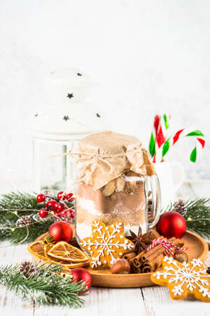 Ingredients for christmas baking in the jar. Stock Photo