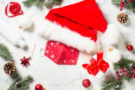 Coronavirus Christmas concept, new normal. Banco de Imagens