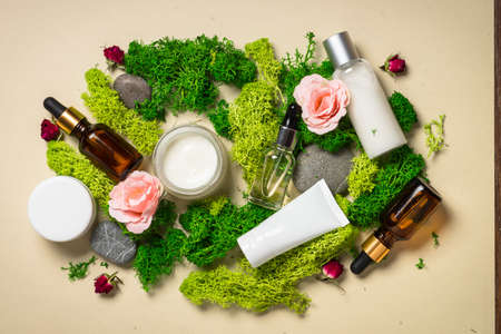 Natural cosmetic products with plants.