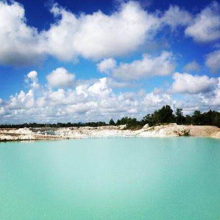 kaolin: Kaolin mine in Belitung Indonesia created a lake filled with rain water