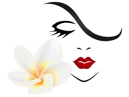 Face of a girl with flower frangipani (Plumeria) on a white background.