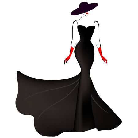 Girl in a long black dress and hat on a white background.