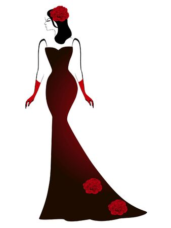 A girl in a long black dress with red peony flowers. Illustration
