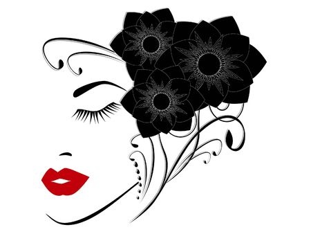 Portrait of a girl with abstract black flowers.