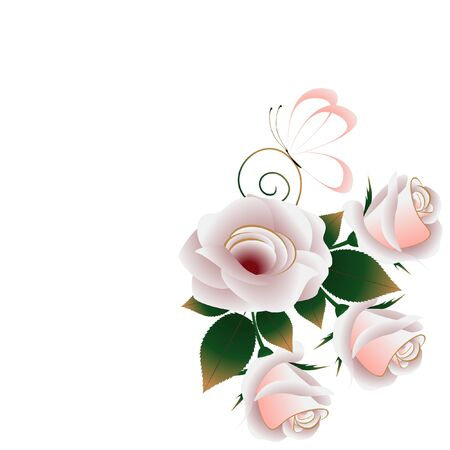 Floral background with tea roses, leaves and butterfly.