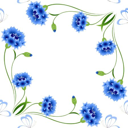 Blue cornflowers with butterflies on a white background, seamless pattern.