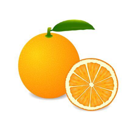 Whole orange fruit and slice isolated on white background.
