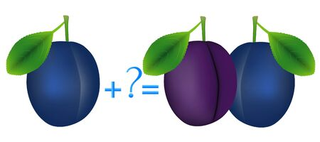 Action relationship of addition, examples with plums.
