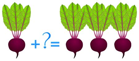 Action relationship of addition, examples with beets. Ilustração