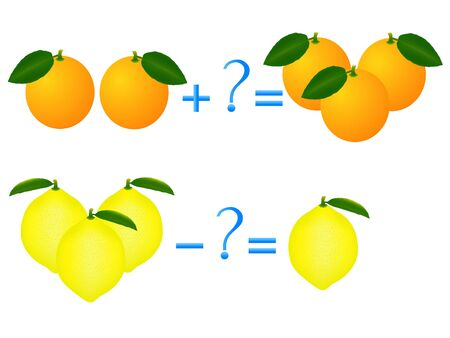 Action relationship of addition and subtraction, examples with lemons and oranges.