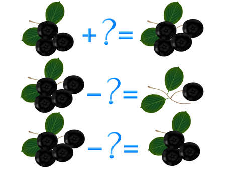 Action relationship of addition and subtraction, examples with black chokeberry. Educational games for children. Иллюстрация