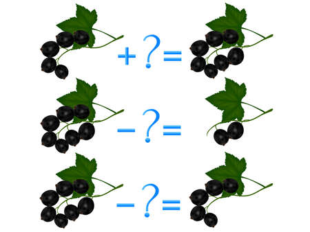 Action relationship of addition and subtraction, examples with black currant. Educational games for children.