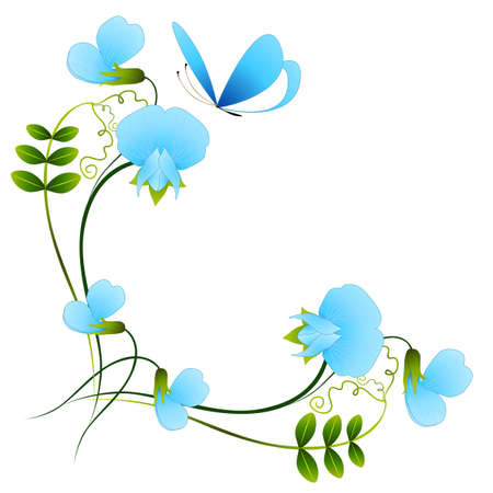 Corner with blue pea flowers and butterfly. Ilustração