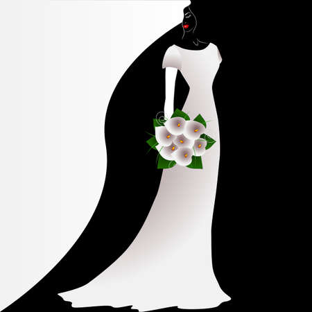 Illustration of beauty black and white background with bride with a bouquet of flowers.