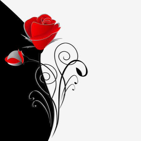 Illustration of beauty black and white floral background with a bouquet of red roses