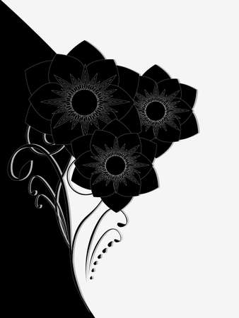 Illustration of beauty black and white floral background with a bouquet of flowers.