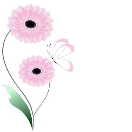 Floral abstract background with gerberas and butterfly, design element.