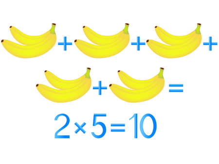 Educational games for children, multiplication action, example with bananas. Vettoriali