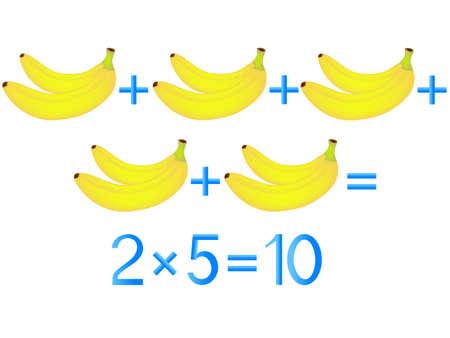 Educational games for children, multiplication action, example with bananas. Ilustração Vetorial