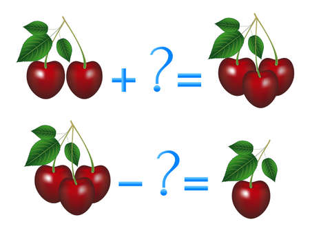 Action relationship of addition and subtraction, examples with cherries. Educational game for children. Stock Illustratie