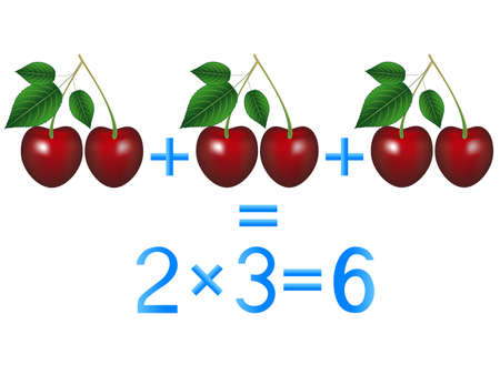 Educational games for children, multiplication action, example with cherries.