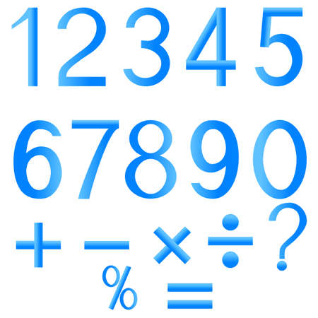 Set of numbers and mathematical signs.