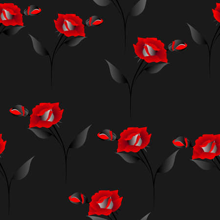 Seamless pattern with red roses on  black