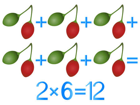 Educational games for children, multiplication action, example with tamarillo fruit.