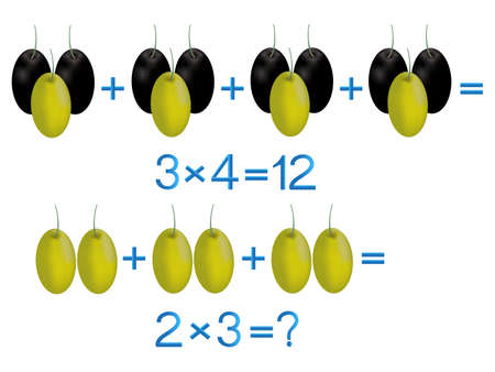 Educational games for children, multiplication action, example with olives.
