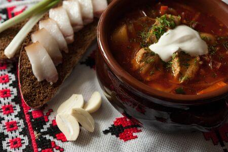 ethnic food: Borsch Ukrainian ethnic food Stock Photo