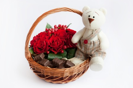 gift basket: Gift basket with flowers and toys