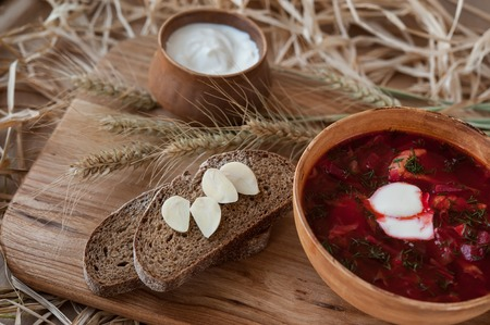 russian ethnicity: Borsch - a traditional Ukrainian national dish Stock Photo