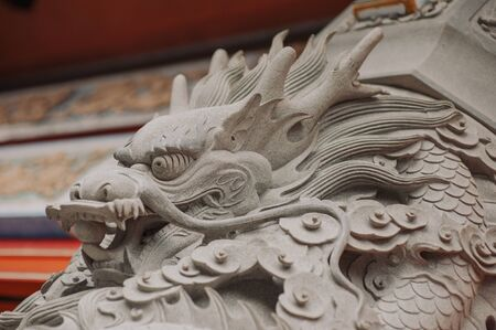 Beautiful sculpture of a dragon in the ancient temple