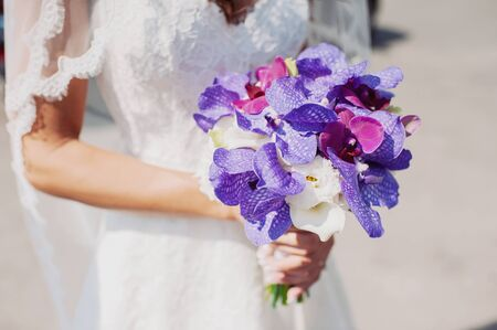 beautiful bridal bouquet of colorful flowers Stock Photo