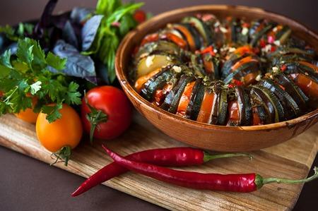 beautiful delicious dish vegetable ratatouille Stock Photo