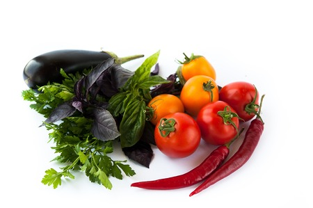 Beautiful different vegetables and herbs: tomato, pepper, mint, basil, eggplant