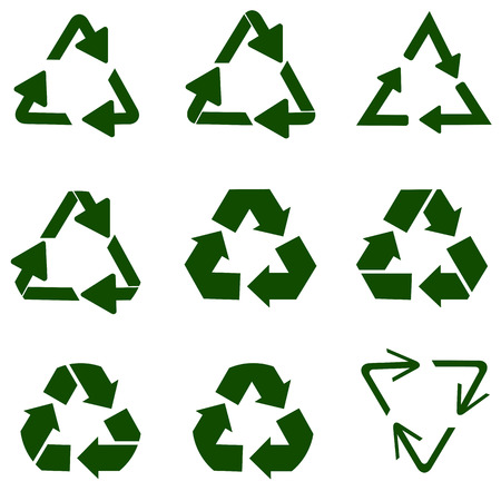 recycling symbol of ecologically pure funds, set of arrows Stockfoto
