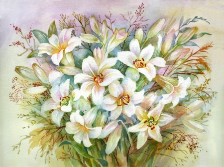 Watercolor Flora Collection  Lilies Bouquet