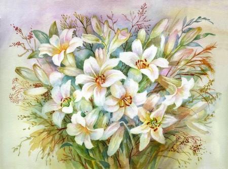 Watercolor Flora Collection  Lilies Bouquet