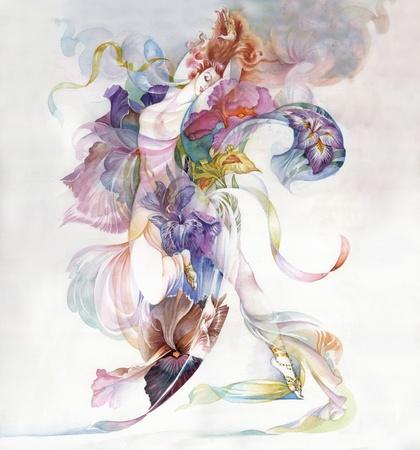 Allegory of Iris Flower Stock Photo