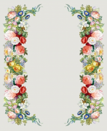 botanical drawing: Roses Garland