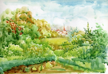victorian house: Watercolor Landscape Collection