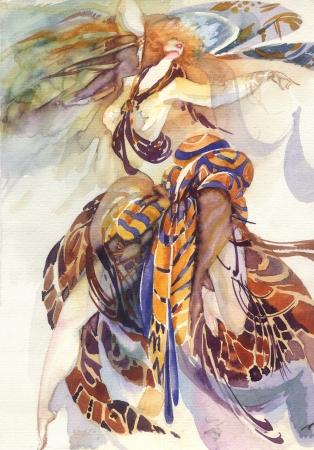 figuras abstractas: La alegor�a del Para�so Aves Foto de archivo