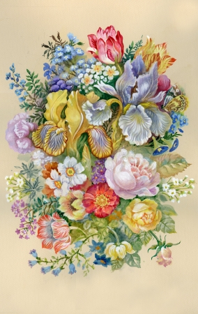 Aguarela da flor da Cole��o Flores Bouquet Banco de Imagens